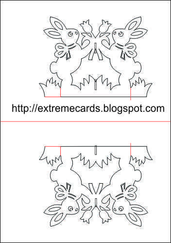 Easter bunny card template | Crease the card at the center fold line, then unfold.