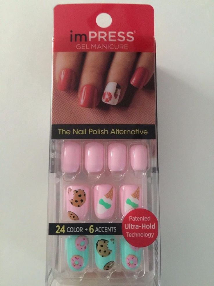 KISS imPRESS Press-On Manicure GIRL IN MIRROR 30 Gel Nails+Accent COOKIE+DONUTS #BroadwayNailsakaKissNails