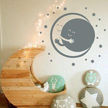 Amazon.com - Wall Decals Vinyl Sticker Moon and Sun Embrace Stars Sweet Dreams Good Night Nature Murals Kids Home Decor Children's Baby Girl Boy Room Bedroom Art Design Nursery Interior M145 -