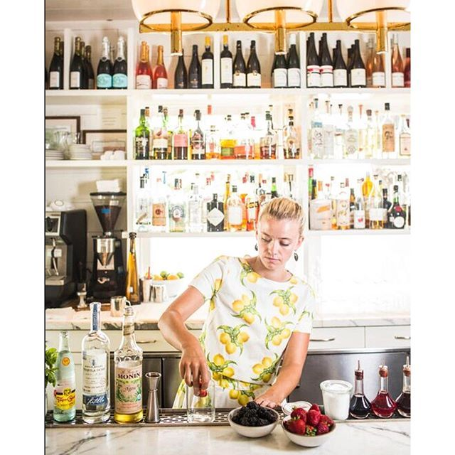 We sat down with Daisy Ryan, here in our two piece lemons, for a how-to on a red, white and blue tequila cobbler@mmhaustin #katiekimeblog