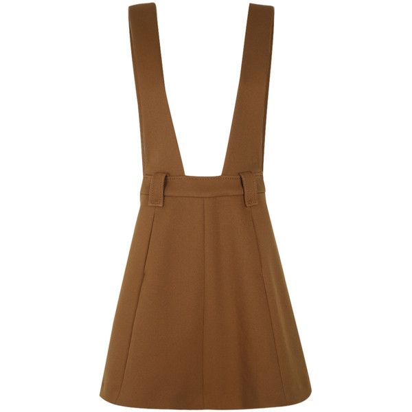 Dorothee Schumacher Energetic Movement Pinafore Skirt (20,585 DOP) ❤ liked on Polyvore featuring skirts, mini skirts, high-waist skirt, pinafore skirt, high-waisted skirts, brown skirt and high waisted mini skirt
