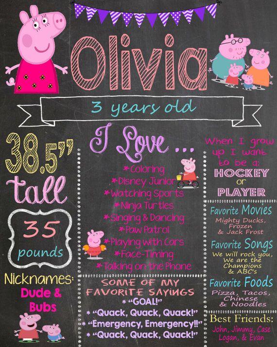 Peppa Pig Birthday Chalkboard / Peppa Pig by AudreyEdesigns
