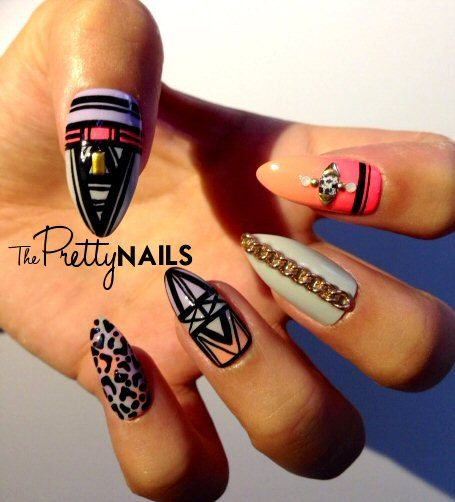 Grey x Neon x Tribal x Peach False Nail Set on Etsy, $21.89
