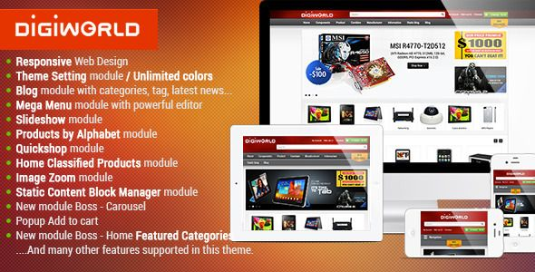 Premium Responsive OpenCart Theme - Digital World   http://themeforest.net/item/premium-responsive-opencart-theme-digital-world/5151025?ref=damiamio         As you are here, you are definitely looking for a new layout for your online store of digital equipment. And, the brand new design, Responsive OpenCart Template – Bossthemes Digiworld, will be your best choice. Why?   Let's experience the demo, you will be impressed by a neat, clean and smartly organized layout comes along with the most…