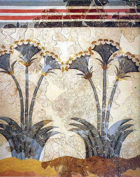 Fresco of papyrus plants from the bronze age excavations of Akrotiri on the greek island Santorini via Wikimedia Commons.