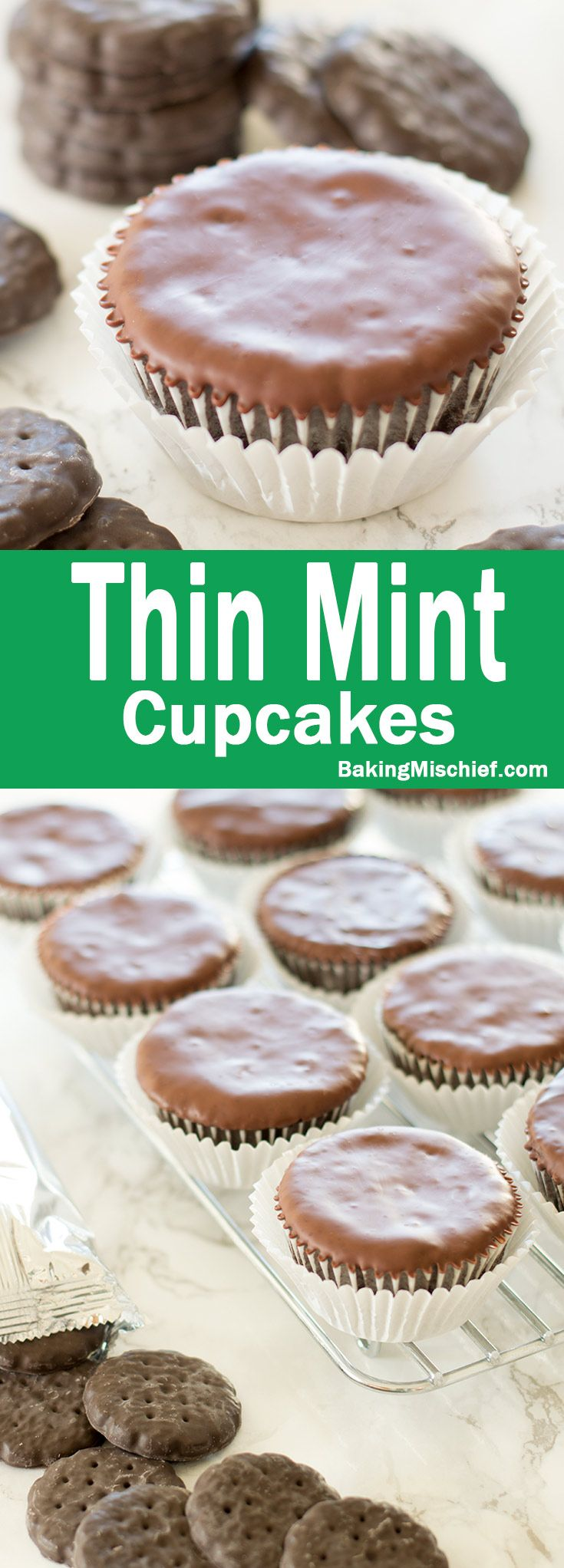 Moist chocolate and peppermint cake covered with a smooth chocolate coating. A delicious cupcake version of the most popular Girl Scout Cookie. Recipe includes nutritional information and small-batch and freezer instructions. From BakingMischief.com