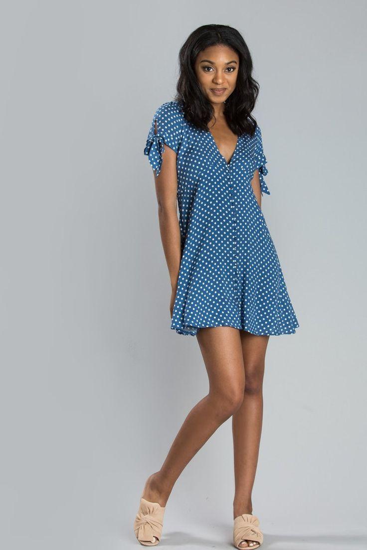 Chelsea Blue Polka Dot Dress - Morning Lavender