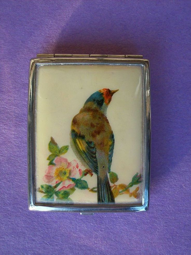 Gorgeous Antique BIRD Pink Powder Compact Vintage Makeup Vanity Case