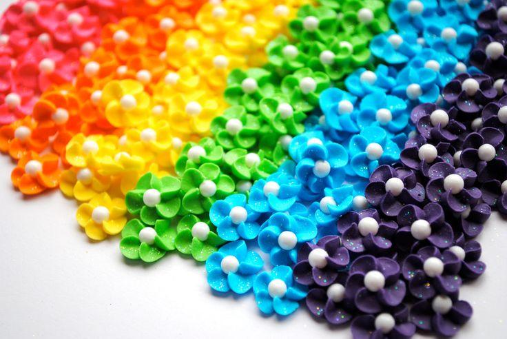 Royal Icing Flowers-Rainbow