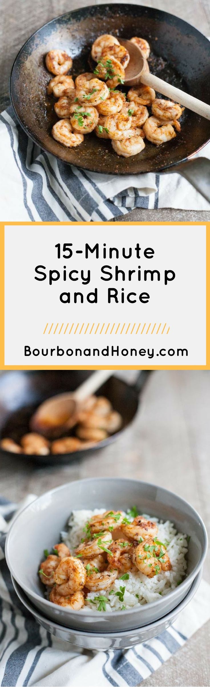 15-Minute Spicy Shrimp and Rice | BourbonandHoney.com -- This super simple 15-minute spicy shrimp and rice is one of the best last minute dinner recipes around! Bonus, it's even gluten free!