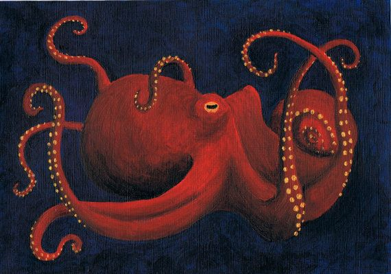 Octopus Art Postcard by nappyhappy on Etsy, £1.00