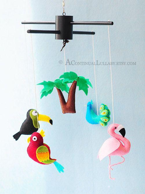 Oiseaux de jungle bébé Mobile, Jungle pépinière Decor, Jungle Baby Shower, bébé berceau Mobile, Mobile de bébé garçon, bébé fille Mobile, Mobile neutre