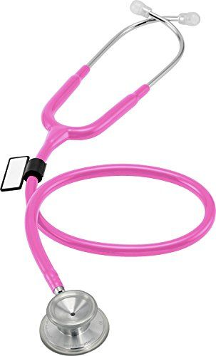 MDF Acoustica Deluxe Lightweight Dual Head Stethoscope - Fuchsia (MDF747XP-32)  Handcrafted Since 1971 | Free-parts-for-life Program | Lifetime Warranty | Latex-free |  ALL-PURPOSE LIGHTWEIGHT STETHOSCOPE > Durable, convenient, lightweight, and high sound performance  Includes 3 pairs of MDF ComfortSeal eartips: Small, Regular, and Large. Eartips are included in our Free-parts-for-life Program  LIGHTWEIGHT, HIGH SOUND PERFORMANCE  PREVENT PUNCTURED EAR DRUMS Patented SafetyLock Eartip ...