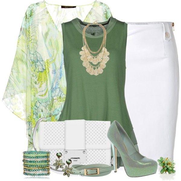 White Pencil Skirt Outfit by helenehrenhofer on Polyvore featuring Roberto Cavalli, European Culture, Moschino, ASOS, Jimmy Choo, Vanity Her, GUESS by Marciano, Tory Burch and Uniqlo
