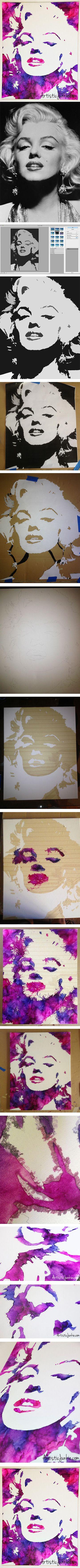 Marilyn Monroe DIY Crayon Art Tutorial & Art.