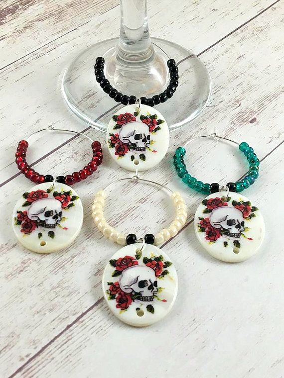 Skull Wine Charms, Shell Wine Glass Charms, Day of the Dead Wine Charms, Rose Skulls Wine Drink Tag, Wine Charm Set, Wine Gifts, Halloween