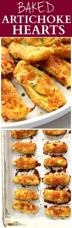 Baked Artichoke Hearts Recipe - delicious appetizer idea that couldn't be easier to make! Artichoke hearts dipped in garlicky butter and coated with Parmesan breadcrumbs. Baked to crispy perfection!