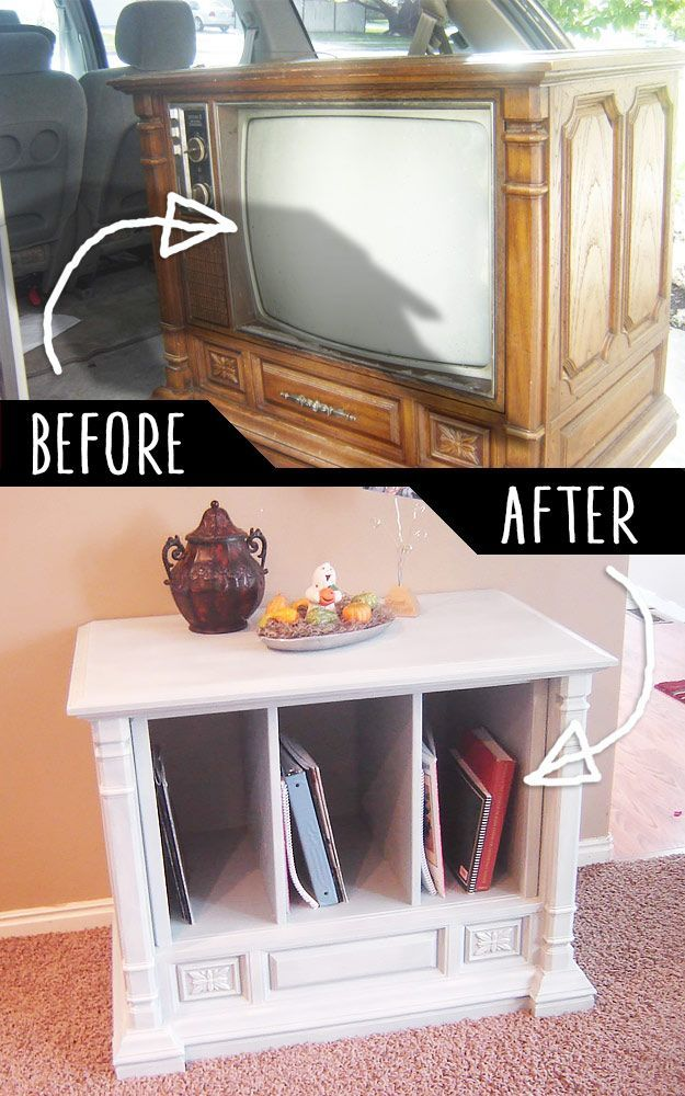DIY Furniture Hacks |  Trash to Treasure Curb Side TV Transformation  | Cool Ideas for Creative Do It Yourself Furniture Made From Things You Might Not Expect - http://diyjoy.com/diy-furniture-hacks