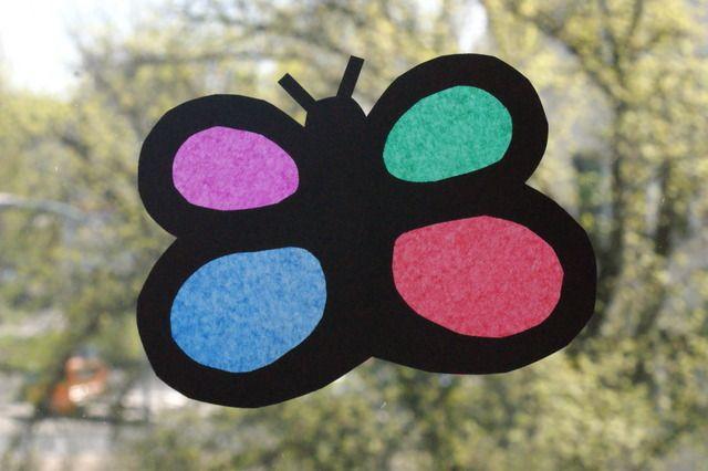 Motyl - prosty witraż dla dzieci. Lato. Butterfly - simple suncatcher with tissue paper for children. Summer.