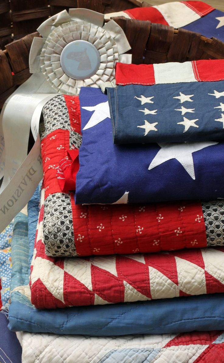 red, white and blue quilts