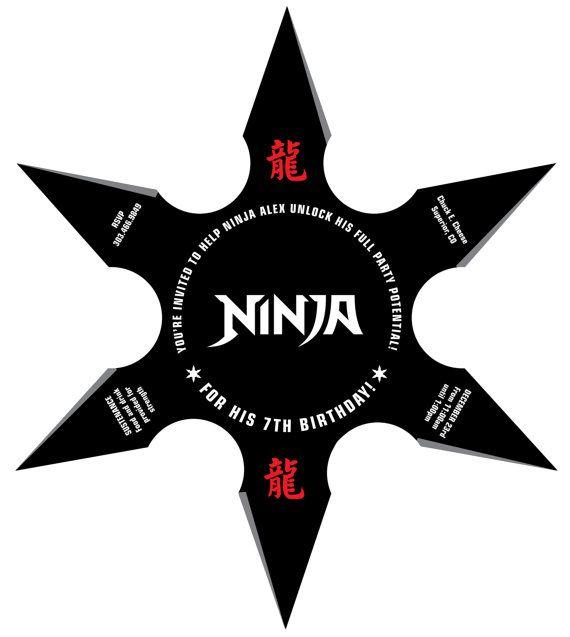 Ninja Birthday Party Throwing Star Invitation von lanodesignstudio