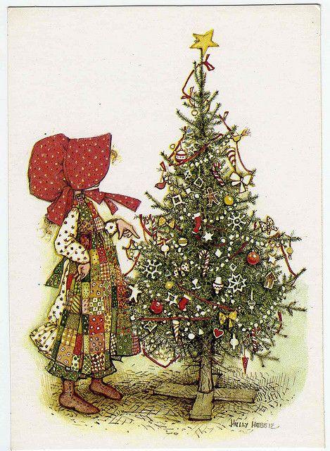 Holly Hobbie Christmas postcard.