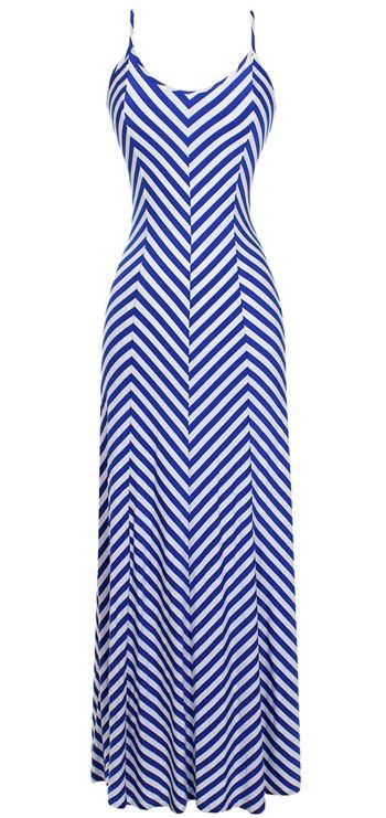 Mitered Stripe Maxi Dress in Blue and White Stripe