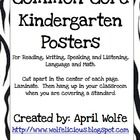 Common Core Kindergarten Posters Print out posters on cardstock or regular printer paper.  Cut in half.  Laminate.  Hang up in your classroom when...