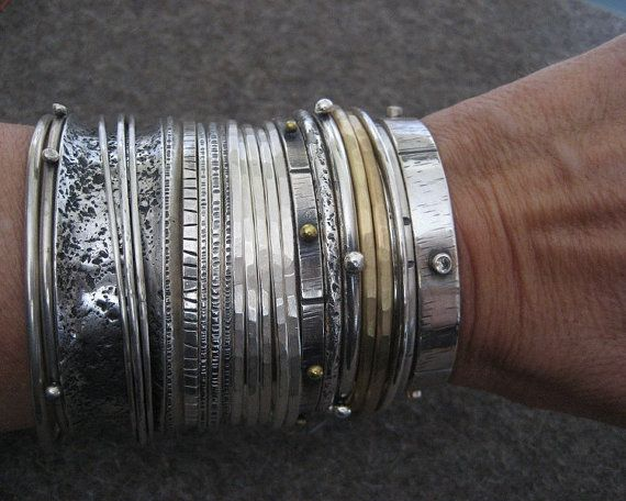 Grueso de Wabi Sabi... Pulsera de plata esterlina