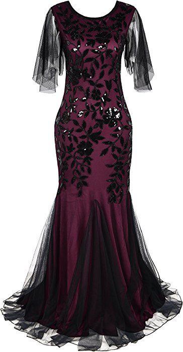 3934de0fb2a6 kayamiya 1920s Long Maxi Prom Gowns Sequin Mermaid Bridesmaid Formal  Evening Dress XL Burgundy at Amazon Women's Clothing store: