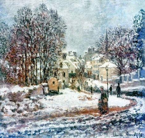 Claude Monet, Entrée de la Grande Rue à Argenteuil, Hiver (Entrance of the Main Street to Argenteuil, Winter), 1875  on ArtStack #claude-monet #art