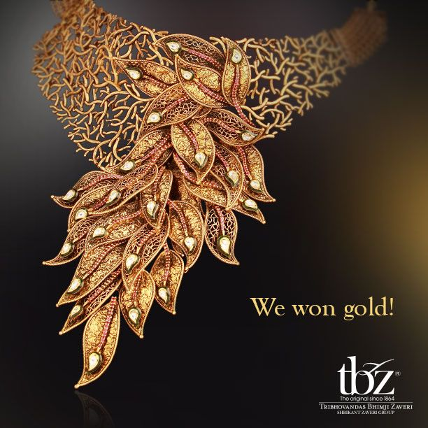 """A good morning indeed! We're proud to share with you that this piece has won the #award for """"Best #Gold #Jewellery of the Year - In #Vogue"""" at 5th National Jewellery #Awards. #TBZ #JewelleryDesigner #India #Indian #Necklace"""