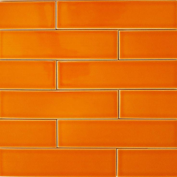 Ceramic Subway Tile Pumpkin Orange Modwalls Designer