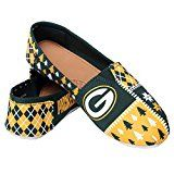 NFL Womens Football Ladies Canvas Slip-On Ugly Stripe Shoes - Pick Team (Green Bay Packers Large)