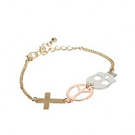 Cross Peace and Skull Symbol Bracelet. Multi-toned symbols bracelet, with a silver-coloured skull, rose gold-coloured peace, and gold-coloured cross shapes hanging from a gold-coloured curb chain.