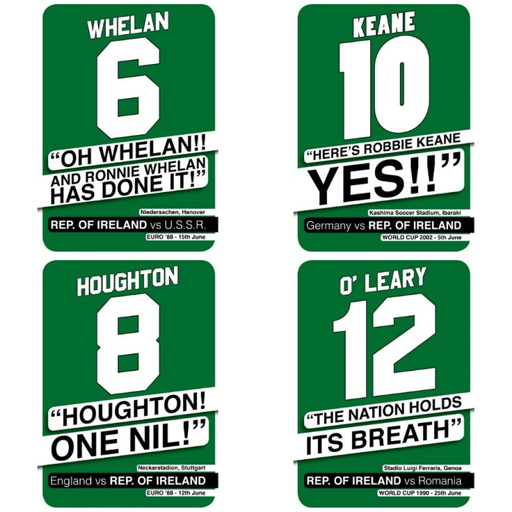 Nostalgic commentary posters of Ireland, with the name and number of the player who scored the goal, in previous major football tournaments inspired by Ireland's recent qualification for Euro 2016 in France. Also contains other teams.