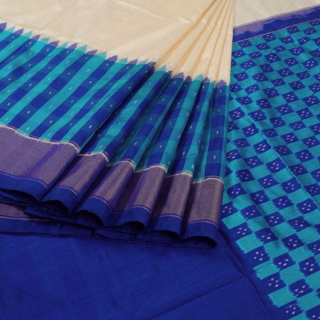 Sarveshi Handwoven Ikat Silk Saree with Checks, Tissue & Temple Border…