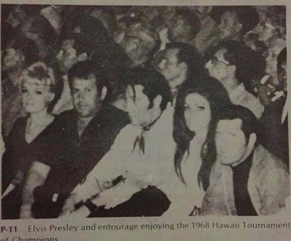 This photo was posted by Angela Doogue on Joe Esposito's facebooksite. It's from May 25, 1968 when Elvis attended Ed Parker´s Karate Tournament of Champions at the Honolulu International Center where he was re-introduced to Ed Parker whom he had first met in 1961. Elvis and Priscilla also met former international light-contact champion Mike Stone. (Thnx to Brian Petersen for the info.)