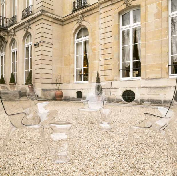 Outdoor inspiration Embassy of italy, Paris /France In the pic: Armchair Uncle Jim, Sofa Uncle Jack, Stool La Bohème all by Philippe Starck