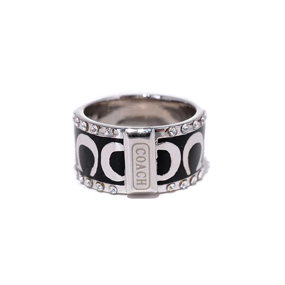 #CoachOnlines Coach Signature C Pave Band Black Rings AKJ | See more about black rings, coaches and rings.