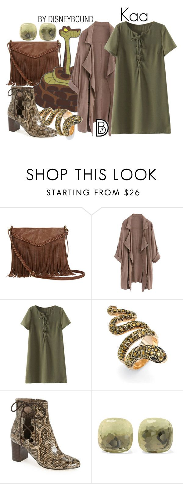 """""""Kaa"""" by leslieakay ❤ liked on Polyvore featuring T-shirt & Jeans, WithChic, Palm Beach Jewelry, Bella Vita, Pomellato, disney, disneybound and disneycharacter"""