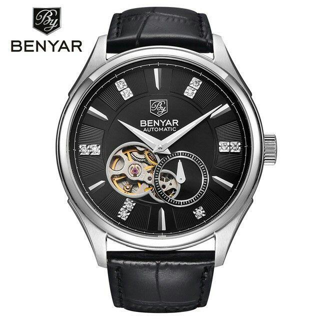 2016 BENYAR Top Luxury Brand Men Watches Casual Sport Watch Men Genuine Leather Business Mechanical Wristwatch relogio masculino