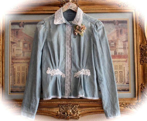 Boho Gypsy Cowgirl Jacket /ShirtRustic  Romantic Rodeo Sweetheart Unique Clothing Free People Fashion