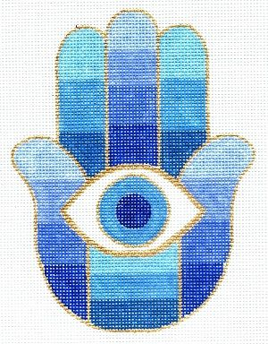 "Spiritual needlepoint - Blue hamsa eye of protection, hand-painted, 6"" x 8"" on 13 mesh canvas, made in Sedona Arizona"
