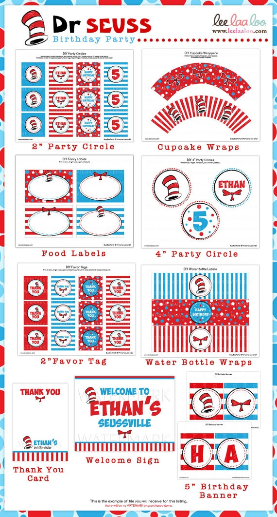 Dr. Seuss party package: Dr. Seuss Birthday Ideas, Dr. Seuss Birthday Party Ideas, Birthday Parties, Baby Boy Birthday Ideas, Dr Seuss Birthday Ideas, Dr Seuss Party Hat, Baby Boy Birthday Party Ideas, Dr Seuss Birthday Printables, Dr Seuss Birthday Party Ideas
