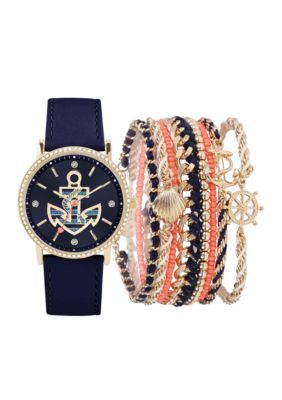 American Exchange Navy Womens Navy Anchor Watch and Bracelet Set