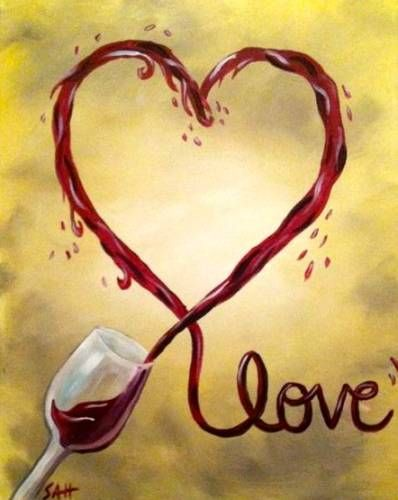 heart and wine canvas painting - Google Search