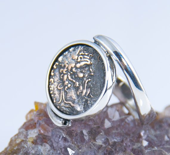 Ancient Coin Ring - Zeus, Father, Sky - Sterling Silver - swirl band - men & women coin ring