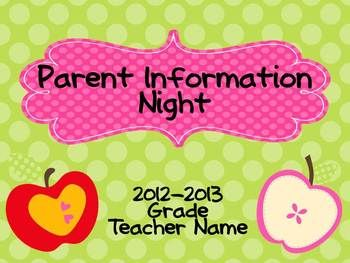 Parent Information Night Power Point Template - Apple Theme