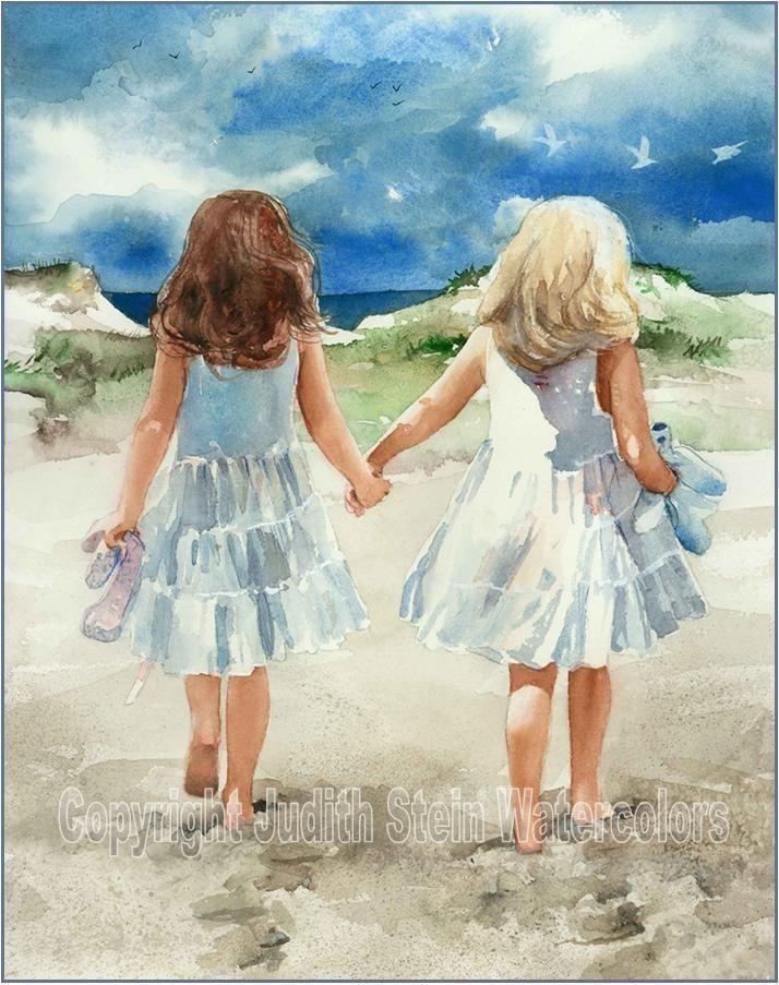 "FRIENDS SISTERS ""Beach Promenade"" Watercolor Painting Art Print JUDITH STEIN #Realism #watercolorarts"